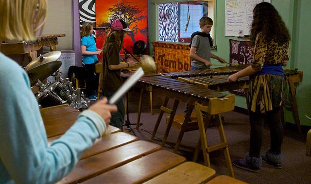 Mukanya marimba youth students playing marimba at Kutandara Center